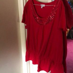 Blouse with sequin design and drawstring at waist